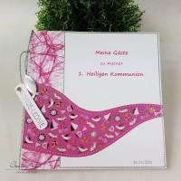 Gästebuch WELLE PINK Kommunion Taufe Konfirmatio Bild 1