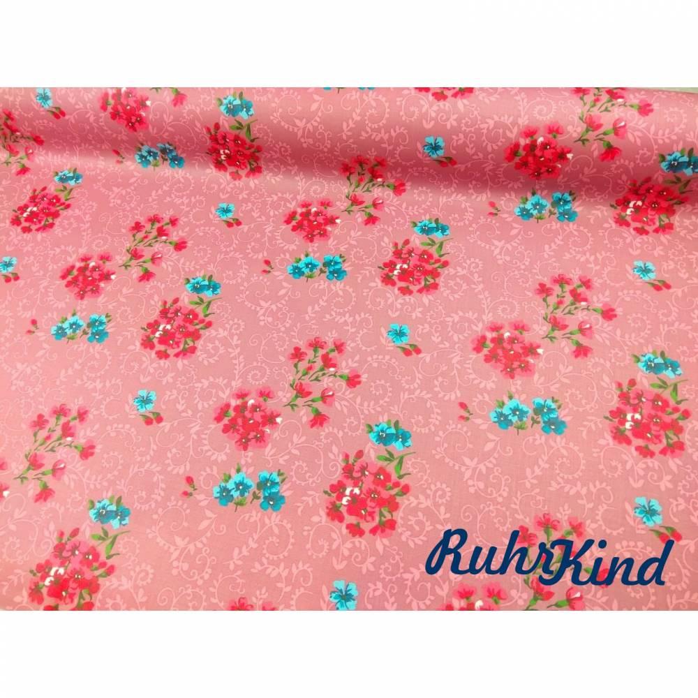Klaranähta 0,5m Beschichtete Baumwolle Blüten Rosa Bild 1