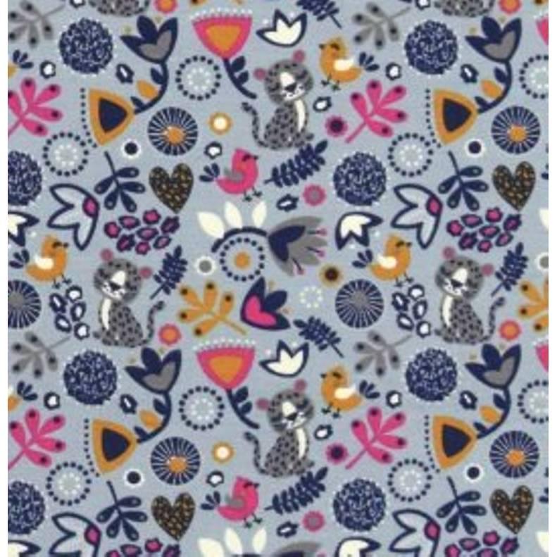 Baumwolljersey süßer Sleeping Panther mit Blumenmuster Vögelchen auf grau, grau Bild 1
