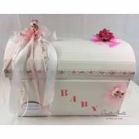 Geschenkbox Truhe Taufe Geburt Baby Rosa Erinnerungstruhe Bild 1