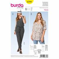Burda Schnitt  6789Bluse – V-Auschnitt, Hose Bild 1