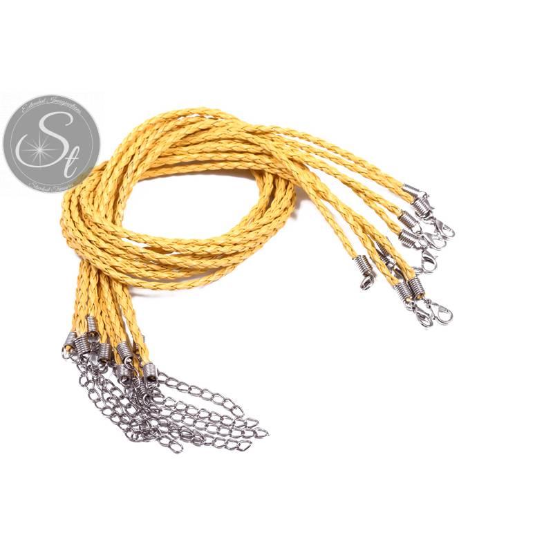 1 Stk. gelbes geflochtenes Lederimitat-Collier ~44cm Bild 1