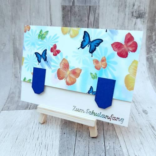 Glückwundchkarte zum Schulanfang - Einschulung - Schmetterlinge