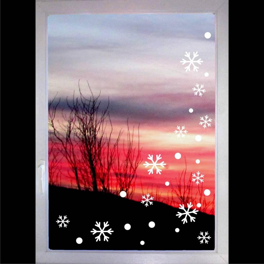 Schneeflocken gemischt & Punkte - Fenstertattoo Set - Weihnachten - Flocken - Fensterschmuck - Fensteraufkleber - Winter - Schneeflocke Bild 1