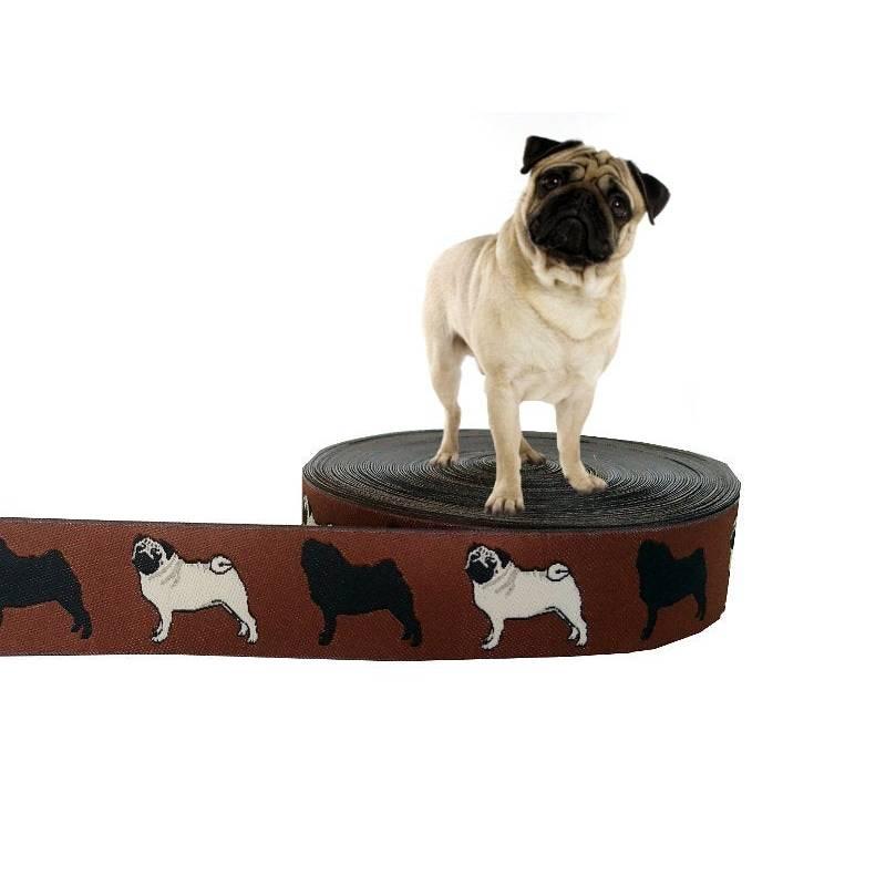 "Webband Hund ""Mops"" Borte Hunde, braun, 20mm, 1 Meter Bild 1"