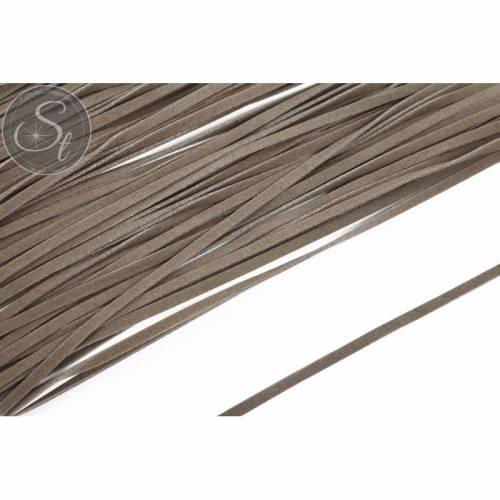 1m graubraunes Kunst-Wildlederband 3mm