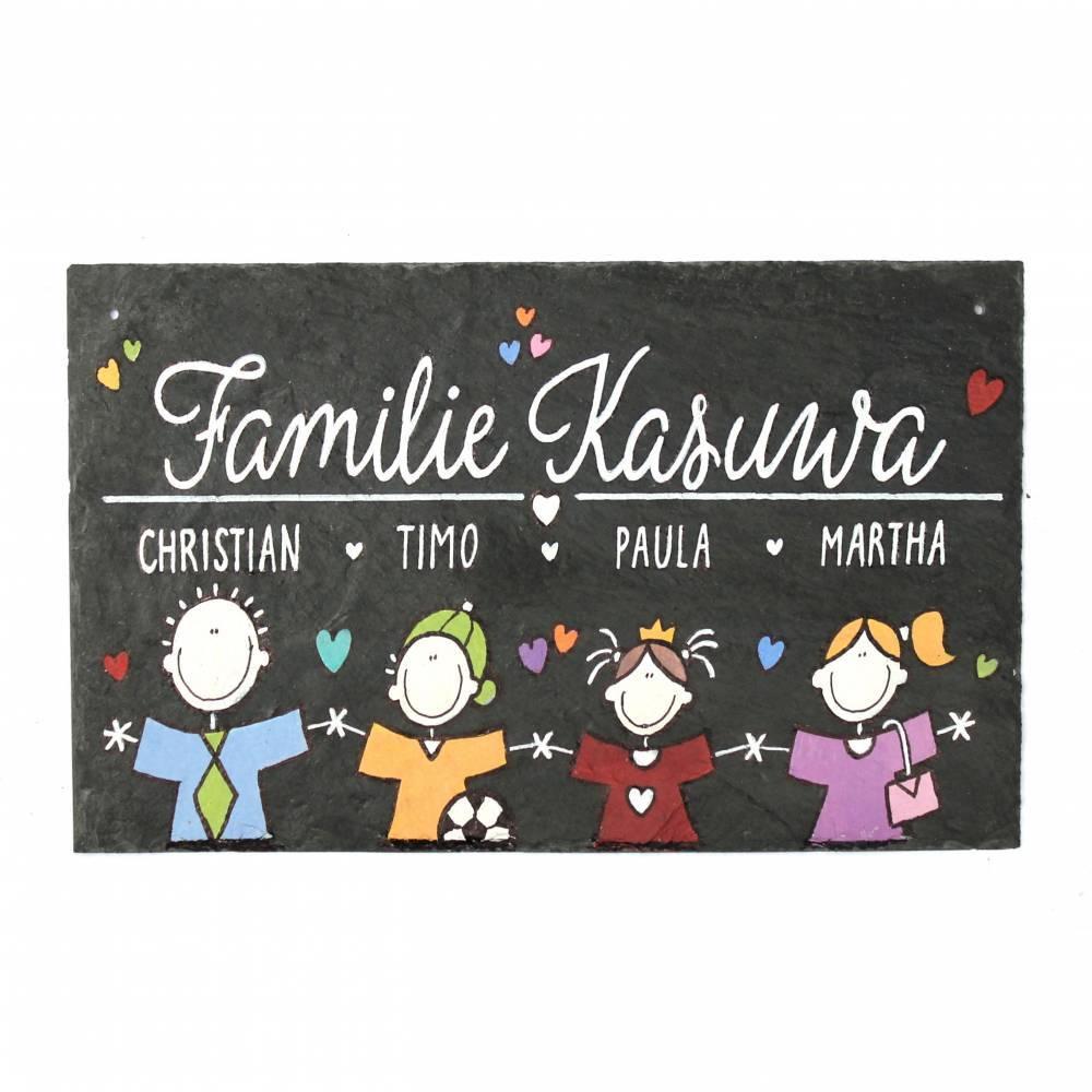 Familienschild Wunschtext Wunschfamilie Schieferheld Schiefertafel Familie Bild 1