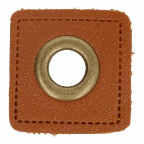 2 Kunstleder-Ösen-Patches braun 8mm bronze