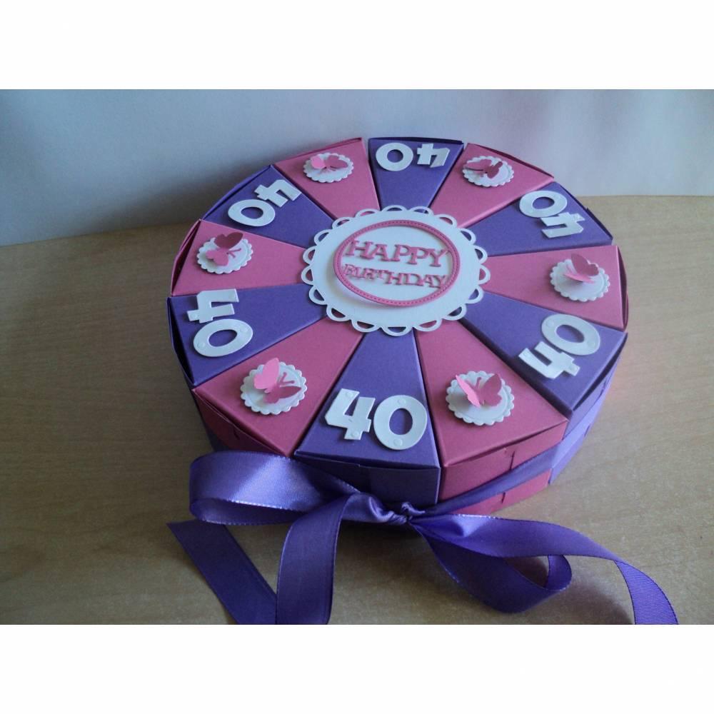 Geldgeschenk zum Geburtstag,Schachteltorte, Papiertorte,Geburtstagstorte ,Geburtsgsgeschenk,Farbe und Zahl nach Wahl,Mann,Frau, Bild 1