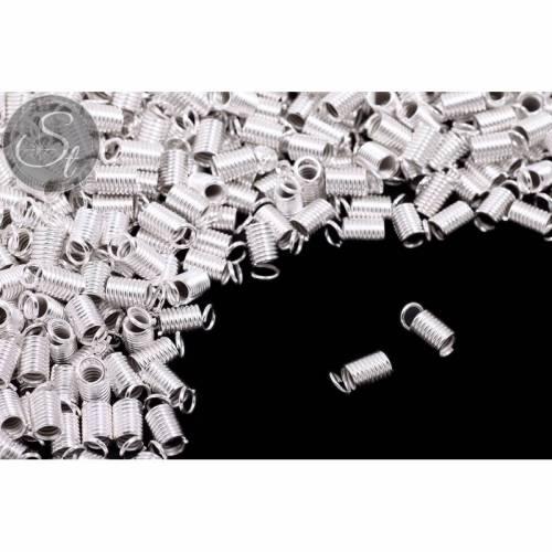 10 Stk. silberfarbene Spiral-Endkappen ~9mm