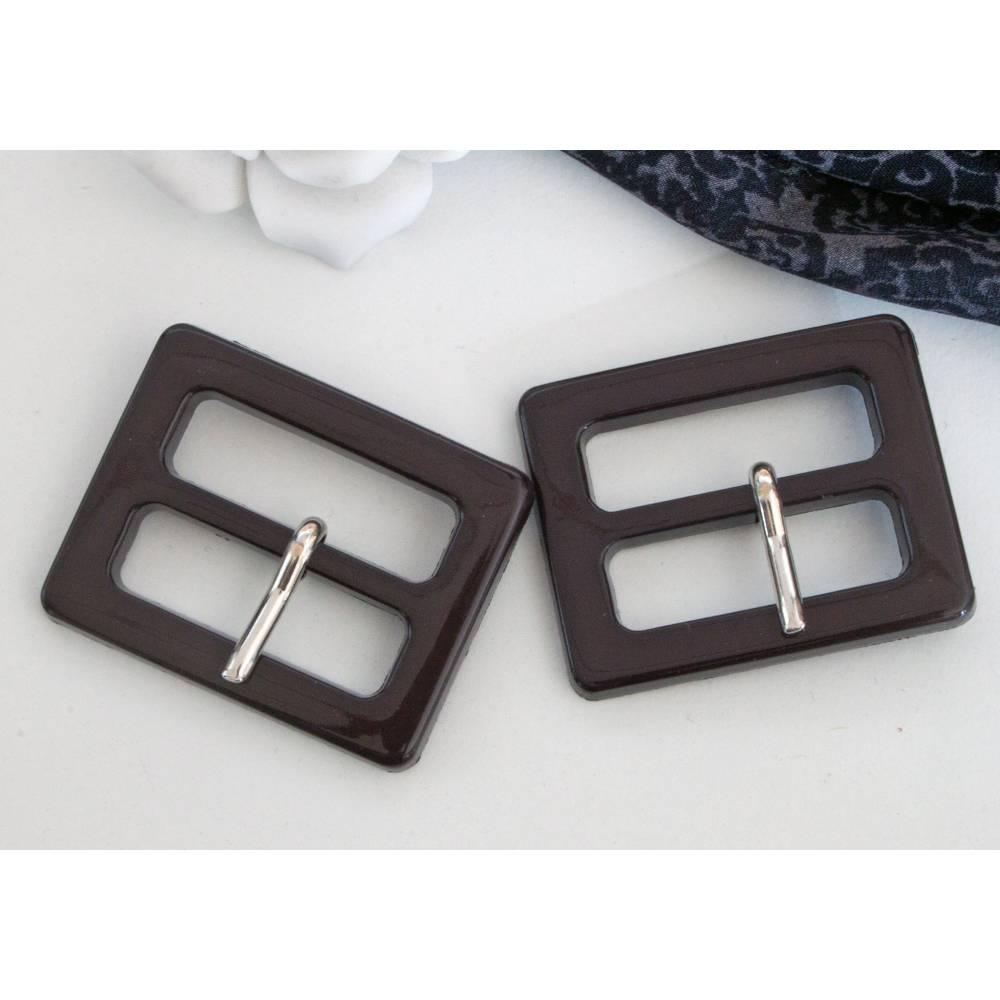 2 Schnallen, 30mm, schwarzbraun, Gürtelschnallen, Vintage Schnallen, Kunststoffschnallen Bild 1
