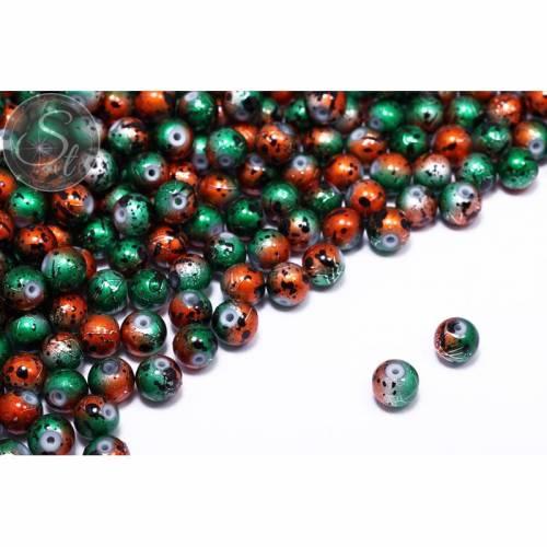 10 Stk. grün/orange Spray-Painted Drawbench Glas Perlen 8mm