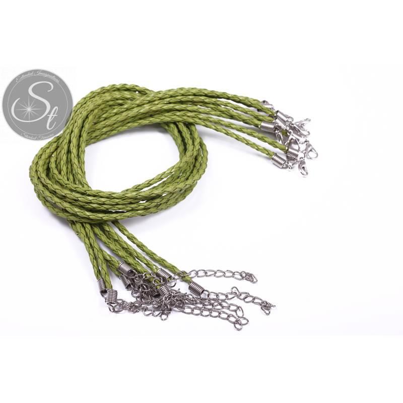 1 Stk. grünes geflochtenes Lederimitat-Collier ~44cm Bild 1