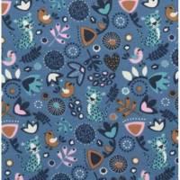 Baumwolljersey süßer Sleeping Panther mit Blumenmuster Vögelchen auf blau Bild 1