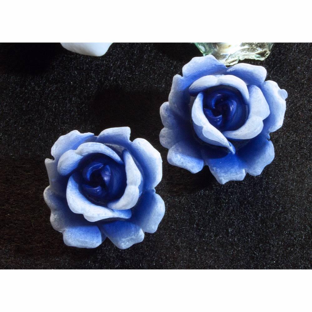 Vintage Ohrclips Rosen 50er, 60er Jahre in blau, Ohrschmuck, Rockabilly, Vintage Hochzeit, Brautschmuck, Trödel Dings da, Bild 1