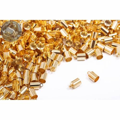 10 Stk. goldfarbene Endkappen ~9,5mm