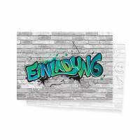 12 Einladungskarten zum Geburtstag - Graffiti Style blau - Einladungen  Bild 1