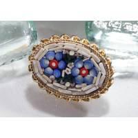 Vintage Mosaik Brosche Glas aus Italien, 70er, 80er Jahre, blau, weiß, Blumen Brosche, Trödel Dings da Bild 1