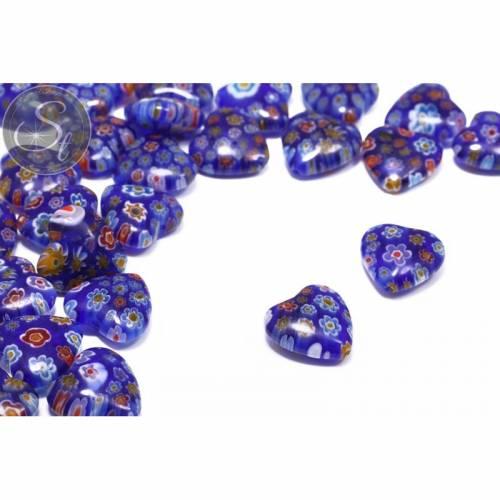 4 Stk. herzförmige multicolor Millefiori Glas Perlen ~15mm