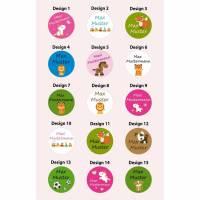 100 Etiketten mit Namen Aufkleber drucken Kinder Schule Kita Name Tiere A105 Bild 1