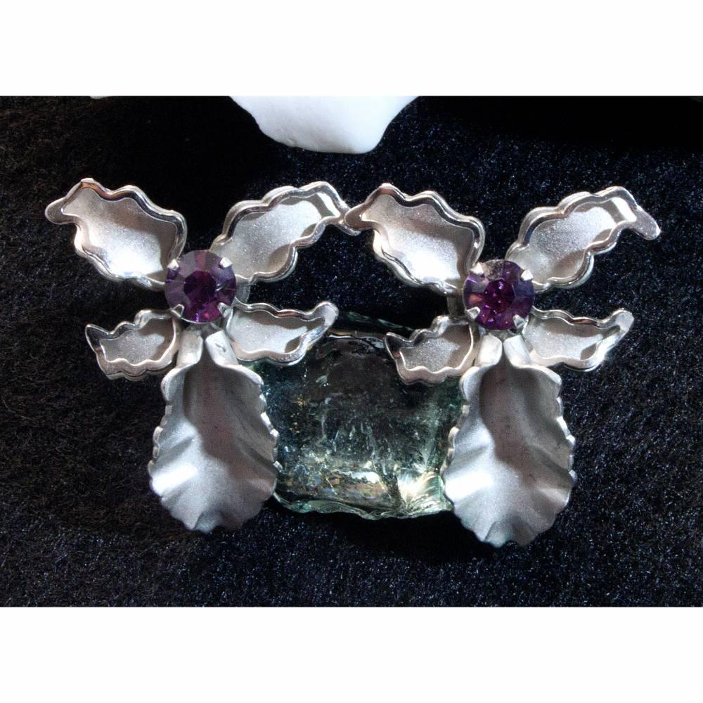 Vintage Ohrschrauben Orchideen, Ohrringe aus den 50er bis 60er Jahren, silberfarben, pink,Trödel Dings da Bild 1