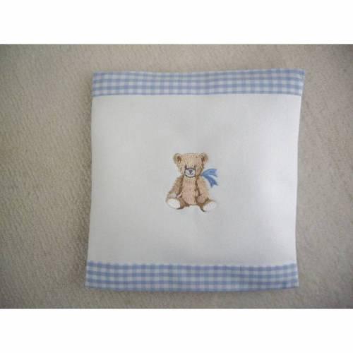 Kinder- Baby- Dinkelkissen Teddy- bestickt