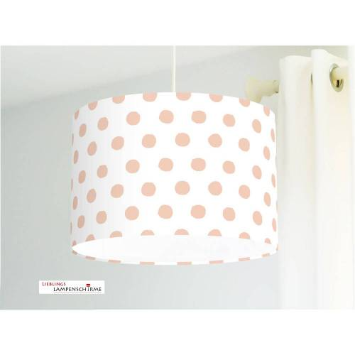Lampe für Kinderzimmer mit Tupfen in Rose auf Weiß aus Baumwollstoff - alle Farben möglich