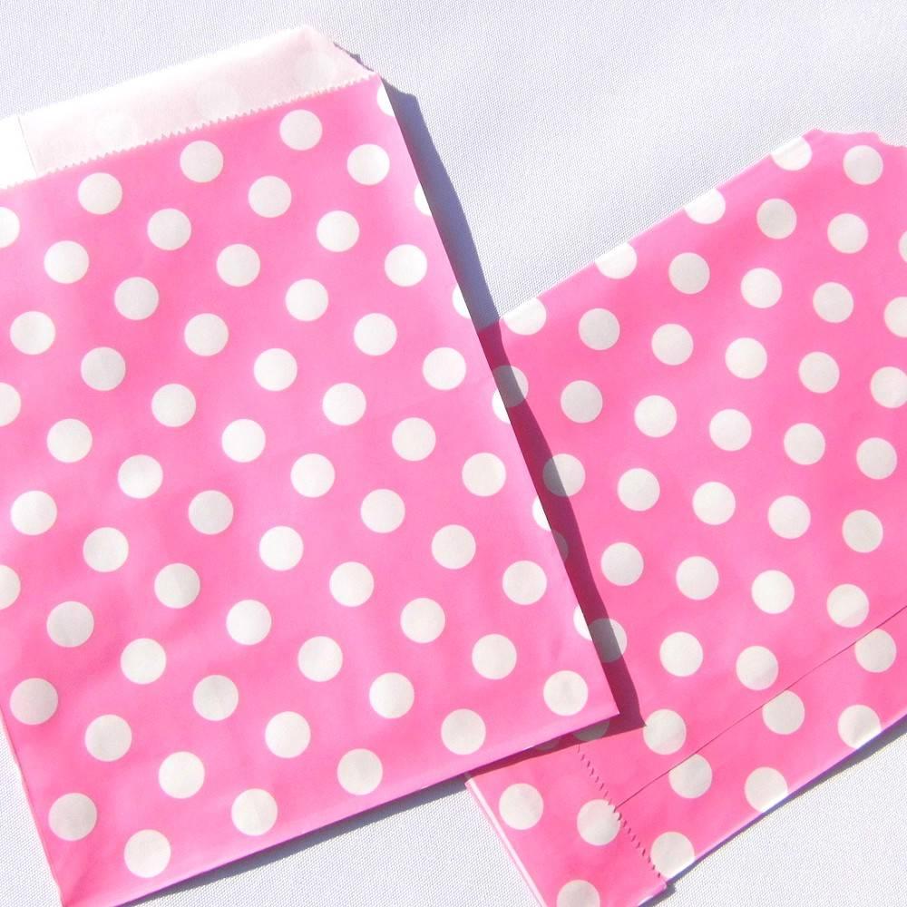 Tütchen pink Papiertüte gepunktet Mitgebseltüte Flachbeutel Verpackung Tüte Gastgeschenk Adventskalender Bild 1