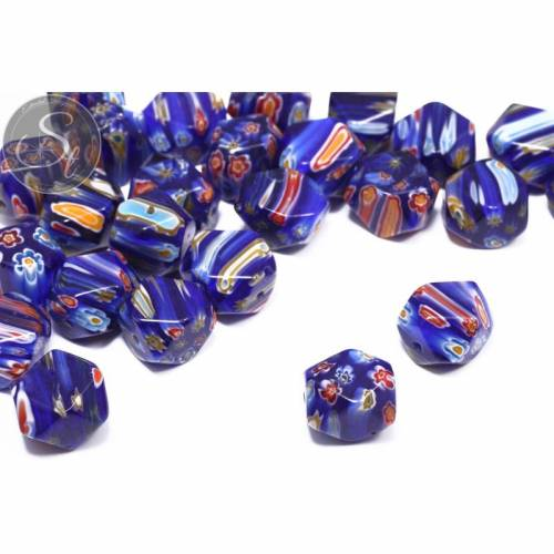 4 Stk. dunkelblau/multicolor Millefiori Glas Perlen ~16mm