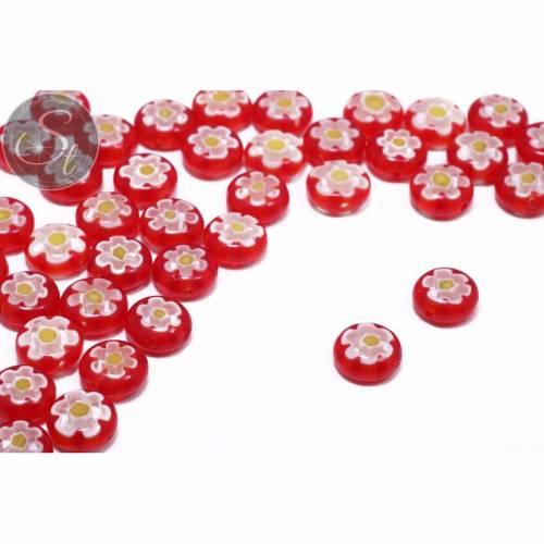 5 Stk. rote flach-runde Millefiori Glas Perlen ~10mm