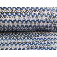 Mantelstoff Jackenstoff Bouclé Tweed Stoff gewebt blau - rosa - wollweiß (1m/14,-€ ) Bild 1