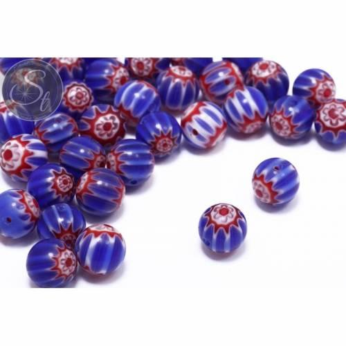 5 Stk. runde multicolor Millefiori Glas Perlen ~10mm