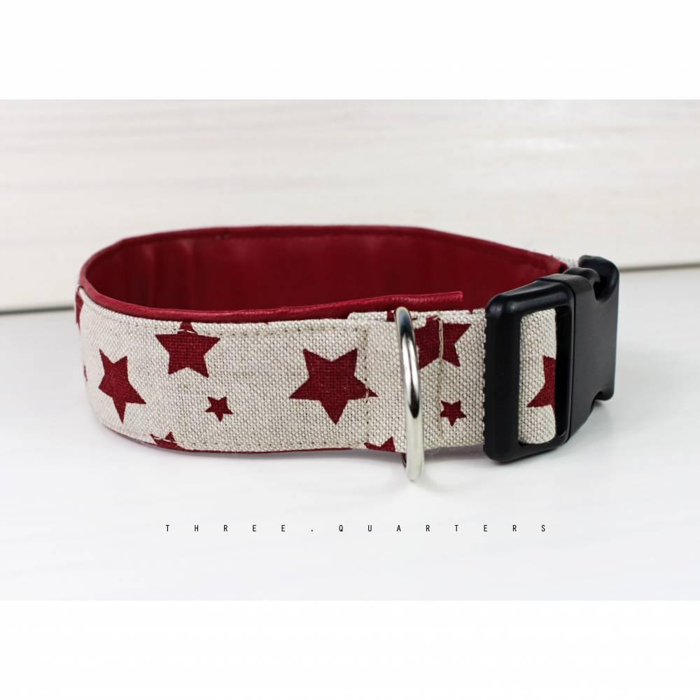 Hundehalsband in beige mit Sternen, mit Kunstleder in dunkelrot, Halsband für Hunde Bild 1