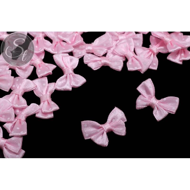 4 Stk. handgemachte rosa Satinschleifen mit weißen Punkten ~24mm Bild 1