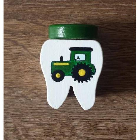Zahndose Traktor Name Milchzahndose Zahnfee  Zahnaufbewahrung Handarbeit Bild 1
