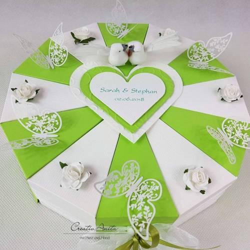 Geldgeschenk, Gutscheinverpackung - Hochzeitstorte Torte SCHMETTERLINGE Maigrün-Weiß Geldgeschenk