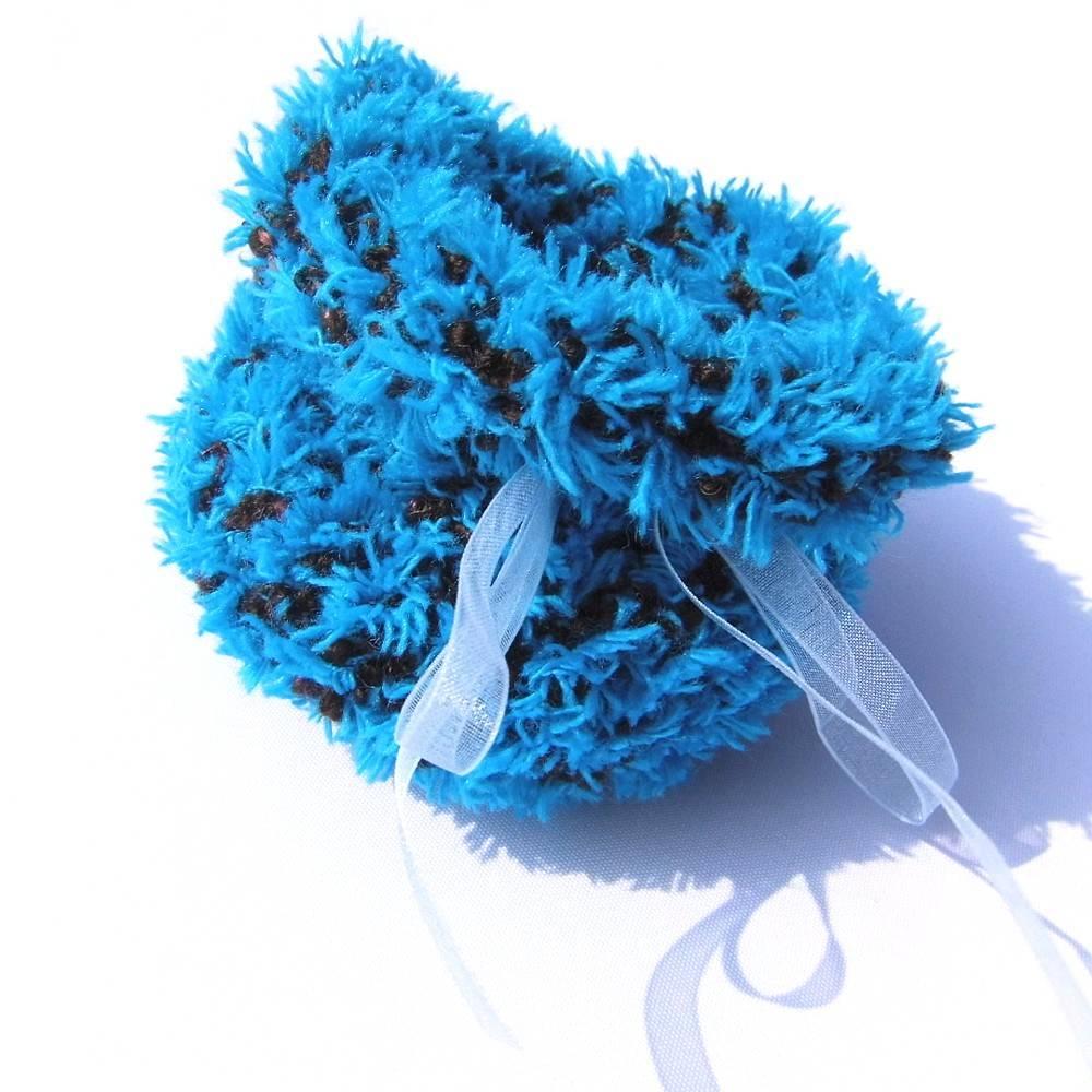 Geschenkesäckchen blau schwarz Geschenkenest Säckchen gestrickt Geschenkverpackung Bild 1