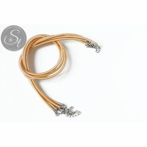 1 Stk. hellgelbes Seiden-Collier ~46cm