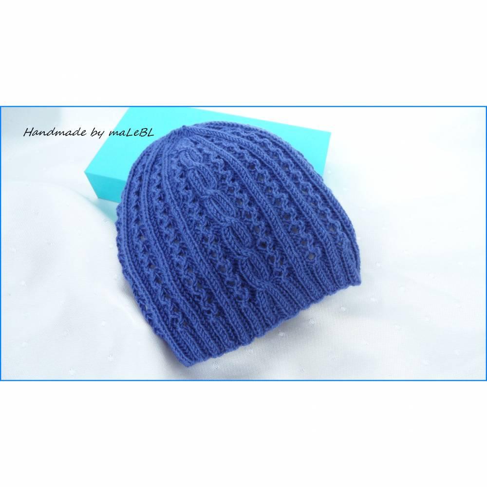 Babymütze, Erstlingsmütze, handgestrickt aus Wolle (Merino) blau Bild 1