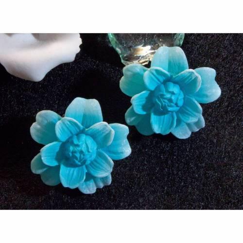Vintage Ohrclips 50er, 60er, Blumen, blau, Ohrschmuck, Rockabilly, Vintage Hochzeit, Brautschmuck, Trödel Dings da,