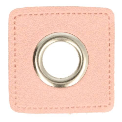 2 Kunstleder-Ösen-Patches rosa 11mm silber