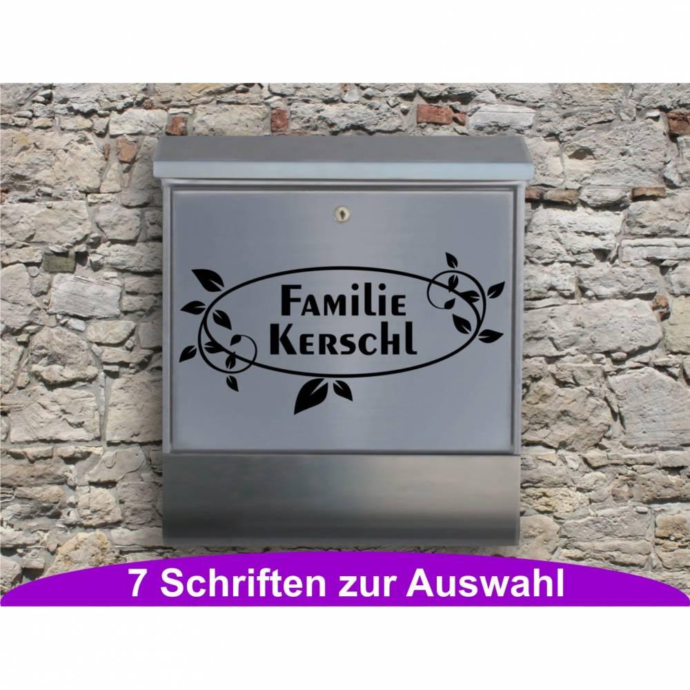 Ornament 03 - Briefkastentattoo in Wunschfarbe und -schrift - Adressaufkleber individualisierbar und selbstklebend Bild 1