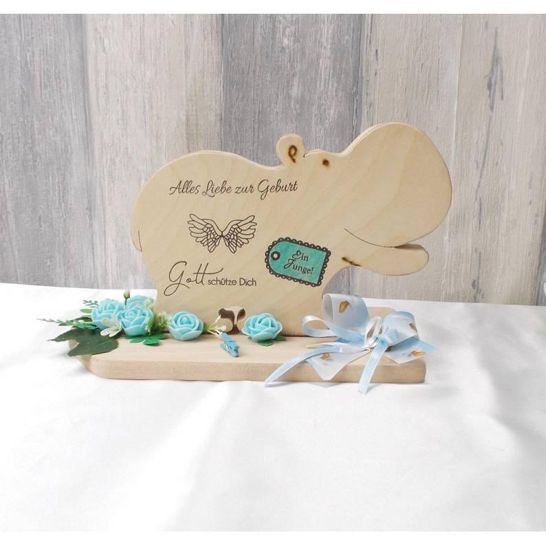 Geldgeschenk Geburt, Holz Nilpferd, Junge, Geldgeschenk Geburt, Geldgeschenk, Glückwunsch Geschenk, Geldgeschenk zur Geburt, Baby  Bild 1