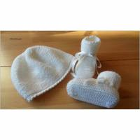 Babyset für die Taufe, weiß. Taufmütze Taufschuhe Merinowolle  Bild 2