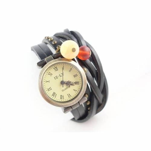 Wickeluhr,Armbanduhr, Lederuhr, Damenuhr, echt Leder, Vintag-Stil,Quarzuhr,uhr