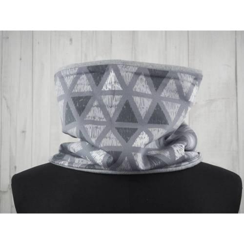 Schlupfschal Loop grau Vintagedruck Dreiecke, kuscheliger Schlupfschal für Männer, Frauen und große Mädchen und Jungen