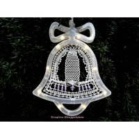 Handgeklöppelte Glocke im LED Leuchtrahmen Dekoration Weihnachten Leuchtglocke Bild 1