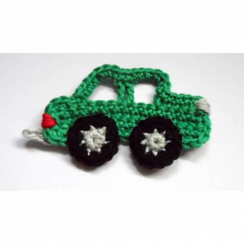 Häkelapplikation Auto grün