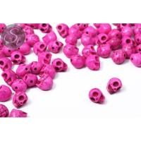 5 Stk. pinke synthetische Howlith Totenkopf Perlen 9mm Bild 1