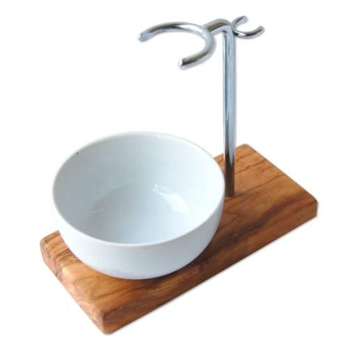 Rasierhalter KLASSIK Olivenholz mit Porzellanschale rund für Rasierpinsel Ø bis 30 mm